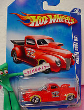 2009 Hot Wheels '40 FORD PICKUP Truck #164∞Red; 5sp~Elwood's Rod~Modified Rides