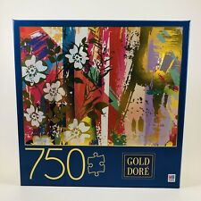 NEW Gold Dore Milton Bradley Composition with Wild Roses 750 Pieces Puzzle