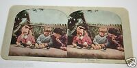WOW ORIGINAL Antique 1900`s Mother & Kids Playing With Baby Ducklings Stereoview