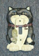 Tuxedo cat with mouse light switch cover- Figi graphics