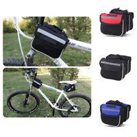 Bike Bicycle Frame Pannier Front Tube Bag Case to Phone Holder Keeper Blue Black