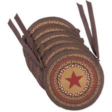 New ! Primitive Country Farmhouse Landon Burgundy Jute Applique Star Chair Pad