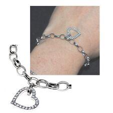 Bracelet en argent massif 925 breloque coeur zirconium idéal charms 18cm bijou