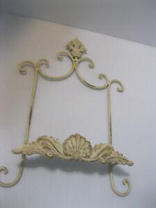 "Metal Plate Rack Wall Mount Vintage Off White/Cream Ornate 16"" x 10"""