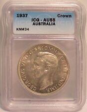 1937 Australia Silver Crown - ICG Certified AU55 KM#34
