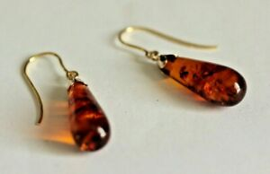 Boxed Solid 9ct Gold earrings, Hand made with stunning  Amber  drops