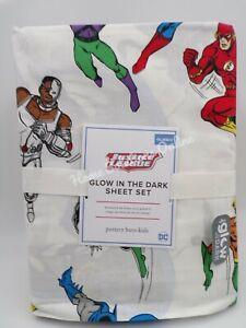 Pottery Barn Kids Glow in the Dark Justice League Superman Sheet Set Queen #G31