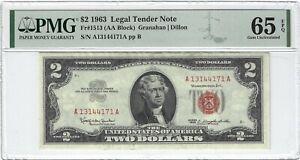Fr.1513 1963 $2 Legal Tender, Granahan / Dillon, AA Block, PMG 65EPQ