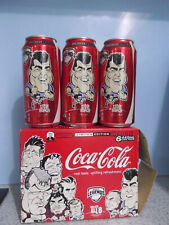 """2009 NRL LEGENDS """"STEVE ROACH"""" COCA-COLA COKE CANS SET OF 6 EMPTY WITH CARRY BOX"""