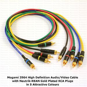 MOGAMI 2964 High-Definition RCA Cables, NEUTRIK RCA Gold - Choose Your Options.