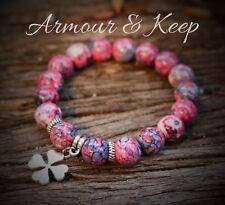 """ANIKA"" Rain Flower Red/Pink Colour Four Leaf Clover Charm Bracelet Handmade"