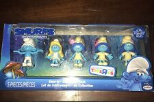 SMURFS THE LOST VILLAGE SET OF 5 CLUMSY SMURFETTE SMURFBLOSSOM & FREE BLIND BAG