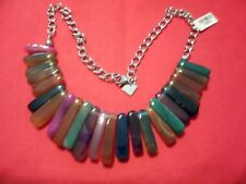 """Multi-Color Agate Stainless Steel Necklace-20""""-475.00 Carats"""