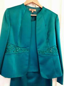 Kasper 3 pieces skirt suit shine embellished open front jacket skirt top Green 8