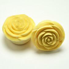 "Rose Flower Ear Gauge Plugs (8g - 1"") - Crocodile Wood"