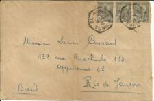 Tunisia Sc#87(x3-i with fault) El Aquina 18/4/35 to BRAZIL, Scarce Destination