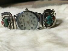 Native American Sterling Silver Men's Turquoise & Coral Watch Band