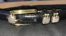 Women's BRIGHTON Black leather Belt size ML (32) EUC, Silver And Gold Tone