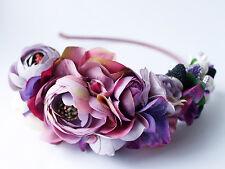 Purple Flower Headband Wedding Headpiece Flower Crown Bridal Hair Accessory