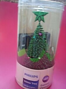 PHILIPS LED CHRISTMAS TREE COMPUTER DESK WORKSTATION GLITTER  BATTERY OPERATED