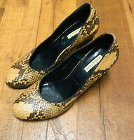 Dries Van Noten beige brown Croc Python Embossed Leather Pumps Heels Shoes 37.5