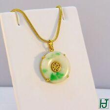Round Green & White Jade Pendant w Chinese Happiness 福, 14k Yellow Gold