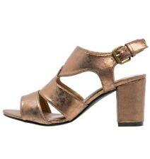 1ae21394567 Evans Jackie Womens UK 4 EEE Extra Wide Fit Bronze Block Heel Slingback  Sandals
