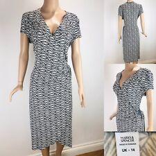 MARKS & SPENCER Wrap Dress 14 Black/White Ruching for Tummy Coverage V-neck Tea