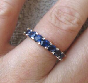 $ 4,100 Natural Ceylon Sapphires Diamonds 18k Rose Gold Ring.