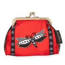 New Laurel Burch Coin Bag Dragonfly Folk Art Case Purse Pouch Red Black Kisslock