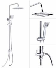 Square Shower Kit Twin Head Chrome Adjust Riser Rail with Chrome Finish Set