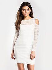 White Mesh Cold Shoulder Dress - Size 12 - New