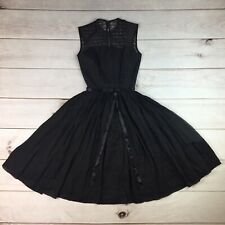 Vintage 1950's Jonathan Logan USA 5 Black Lace Flare Belted Pleated Dress XS XXS