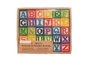 Learn & Play Wooden Alphabet Blocks 26 Count - Letters & Spelling & More! NEW