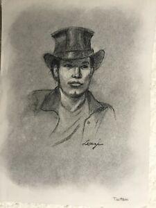 Jennie Lenzi original vintage Life Drawing of male