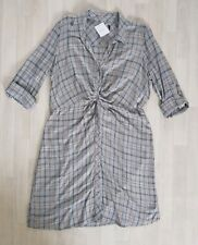 CHECKED SHIRT DRESS size 22 yellow NEXT grey LONG SLEEVES casual COLLAR blue