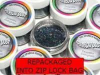 GRAPHITE HOLOGRAM GREY Rainbow Dust Cake Glitter Sparkle repackaged