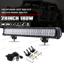 "28""Inch 180W Led Work Light Bar FLOOD SPOT Driving Bumper Roof 4WD Pickup"