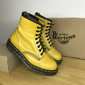 Vintage Yellow dr martens 1460 Boots sz uk 6 us 8 made in England 90s mie