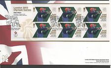 GB 2012 Official FDC Olympics Sheetlet 2nd aug Peter Wilson 6 stamps
