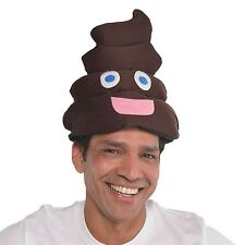 Adults Smiley Poop Emoji Face Hat Funny Party Stag Fancy Dress Costume Accessory
