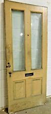 1800's Antique Entry Door Raised Panel Orig. Glass Italianate Style Fir Ornate