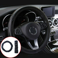 Black Car Steering Wheel Cover Quality Leather Breathable Anti-slip For 37-38CM