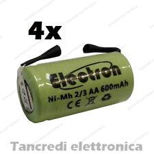 4 BATTERIE RICARICABILI NiMh 2/3AA 600mAh 1.2V con lamelle linguette a saldare