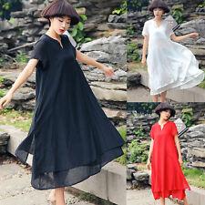 AU8-18 Oversized 4 Colors Summer Ladies Beach Maxi Dress Ruffles Solid Robe