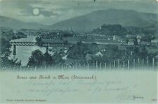 Steiermark Bruck Mur Mondscheinkarte Eisenbahn Brücke 1899 Marke Stempel