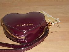 NEW MICHAEL KORS LEATHER PLUM HEARTS COIN PURSE KEY FOB
