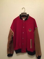 RED WOOL and LEATHER VARSITY JACKET