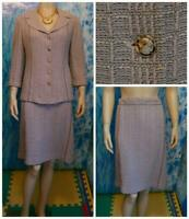 ST. JOHN COUTURE Knits Pink Gray Gold JACKET SKIRT M L 10 8 2pc Suit Multicolor