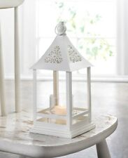 """10 White Belfort Candle Lanterns w/ Clear Glass & Floral Cutouts at Top 12"""" high"""